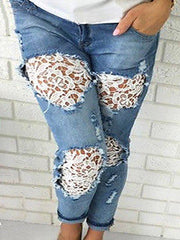 Lace Embellished Ripped  Light Wash Jeans