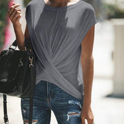 Casual Loose Pure Color Tie Knot T-Shirt