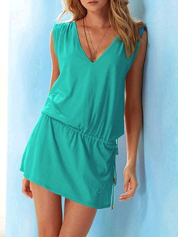 Beach V-neck Slim Fit Solid Color Casual Dress
