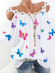 Off-the-shoulder Lace Shoulder butterfly printed Blouse