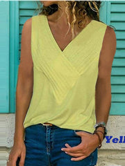 Solid Color V-Neck Ruffled Tank Top