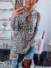 Cute Open Shoulder Cut Out Leopard T-Shirts