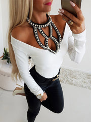 Sexy Beads Halter Off Shoulder Plain T-Shirts