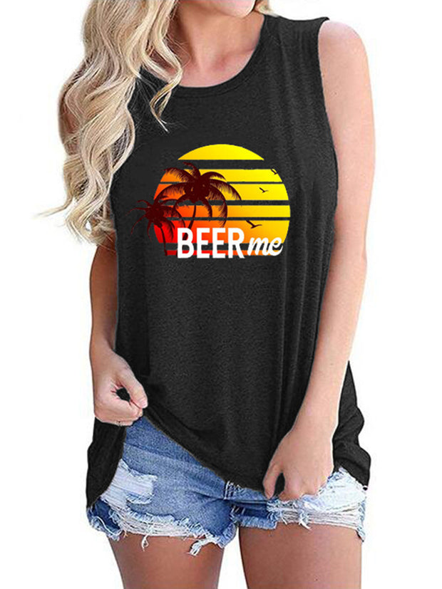 Beer Me Rainbow Coconut Tree Print Tank Top
