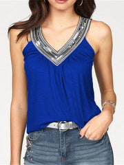 V-Neck Paillette Sleeveless Tank Top