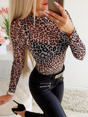 Stand Collar Long Sleeves See-through Leopard T-shirt