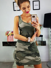 Sexy Camo Printing Slim Sleeveless Bodycon Dress