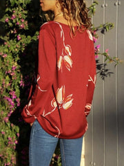 V-Neck Long Sleeves Printed Shirt