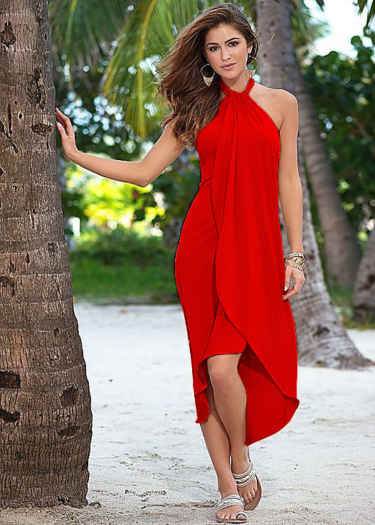 Bandeau Strap Irregular Hem Dress