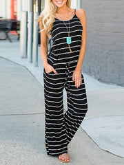 Straps Striped Jumpsuits