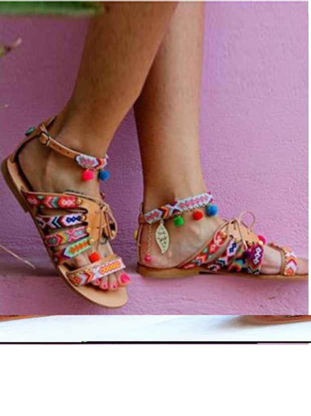 Pom Pom Lace-up Casual Ethnic Flat Sandals
