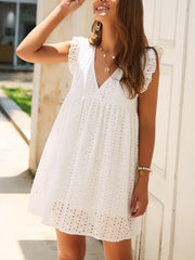 V-Neck Lace Solid Color Dress