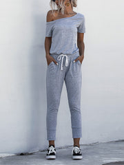 Off Shoulder  pocket Lace-up Jumpsuits
