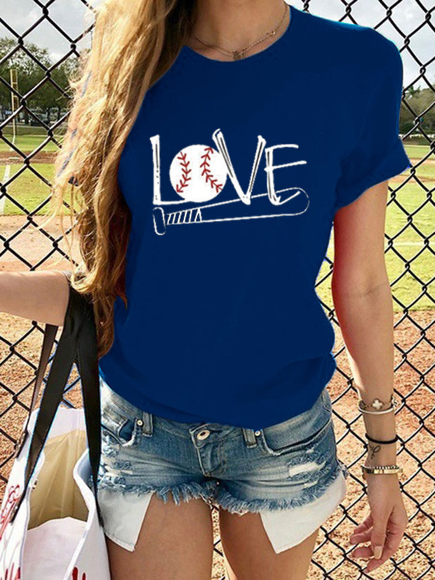 Women's LOVE Baseball Letter Print Round Neck T-Shirt