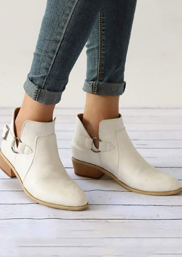Solid Color Pointed Toe Buckle Embellished Boots