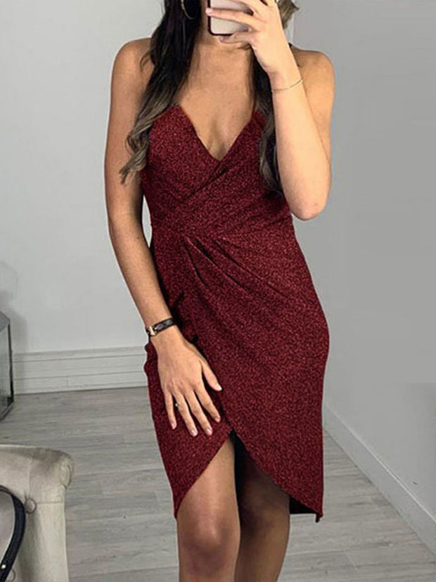 V-neck Bright Suspenders Bodycon Dresses