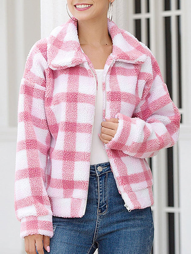 New Arrival Plaid Plush Jacket