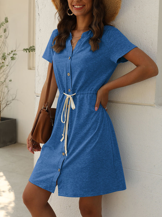 V-neck Single-breasted Lace-up Casual Dresses