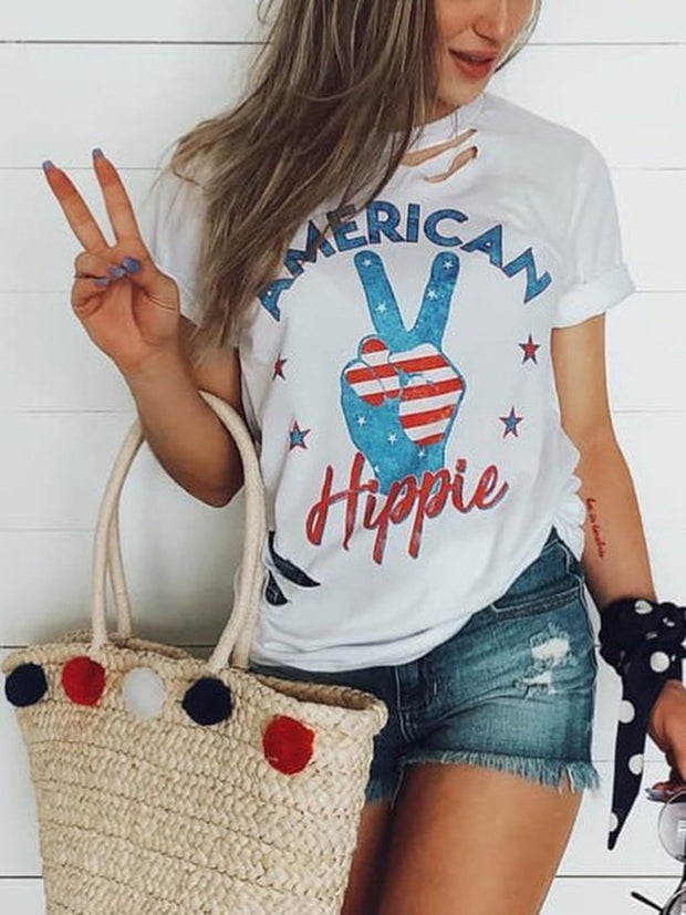 Round Neck Finger Letters Printed Hollow Out T-shirt
