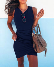 Folding Irregular Cross Sleeveless Hip Sexy Dress