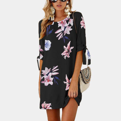 Mid-sleeve printed lace-up crew neck dress