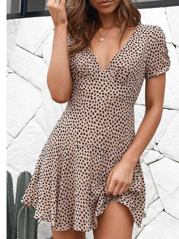 V-Neck Short Sleeves Dress