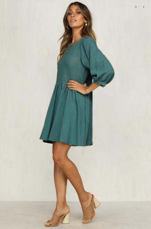 Cotton and linen pleated dress