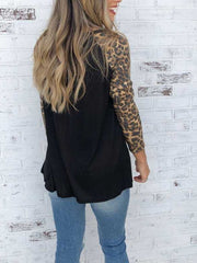 Long Sleeve Leopard Printing T-shirt With Pocket