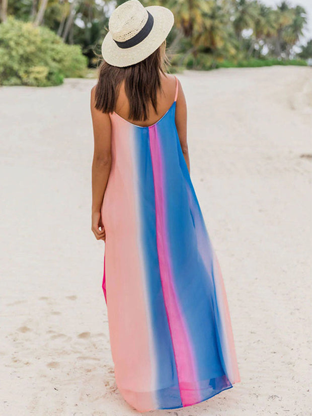 Spaghetti Strap V-Neck Chiffon Colorful Striped Maxi Dress