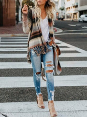 Fringe Striated Cardigan