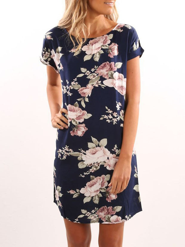 Round Neck Short Sleeves Shift Floral Dress
