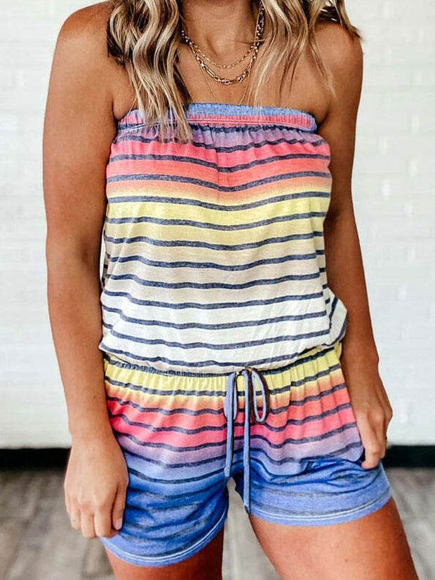 Colorful Striped Splicing Gradient Color Drawstring Romper without Necklace