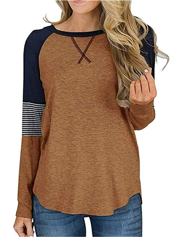 Striped Stitching Round Neck Casual T-shirt