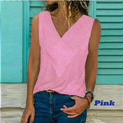 V-neck stitching solid color T-shirt