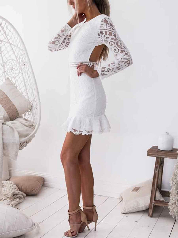 Round Neck Backless Long Sleeves Bodycon Lace Dress