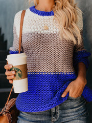 Round Neck Splice Knitting Sweater