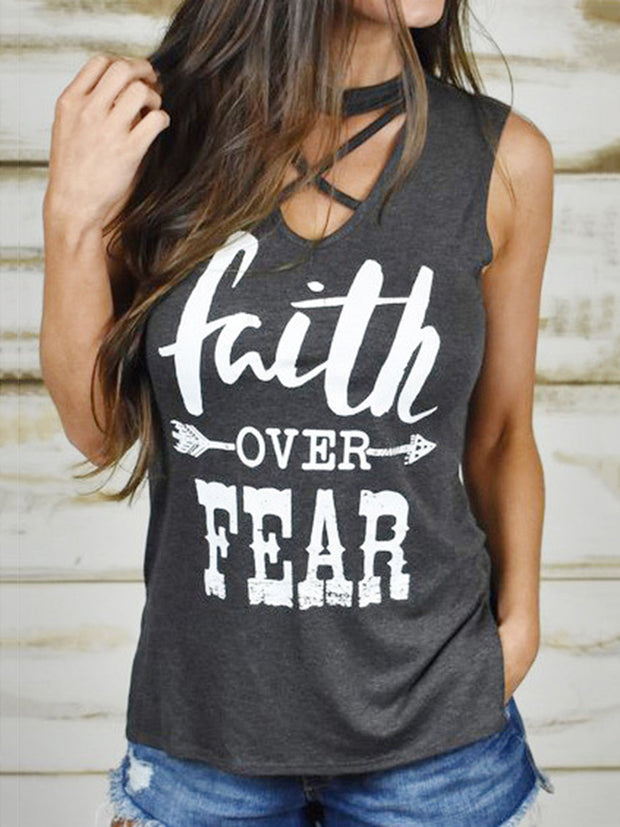 Faith Over Fear  Letters Printed Tank Top