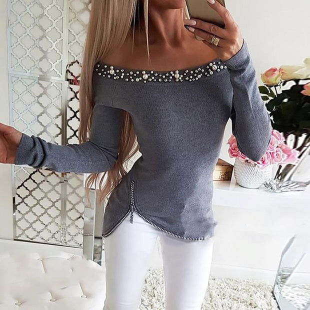 Sexy Solid color collar zipper slim body long sleeve T-shirt