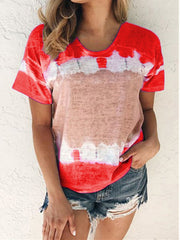 Tie Dye neck Colorblock T-shirt