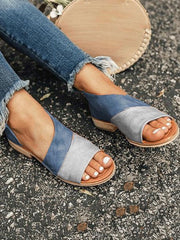 Fish-beaked Matching Square - Heeled Women's Sandals