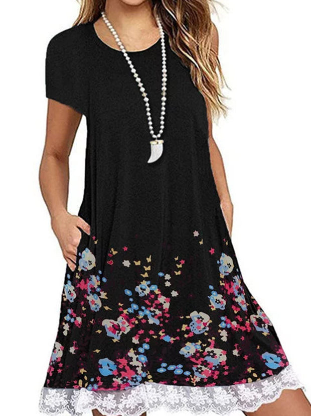 Lace Panel Round Neck Short Sleeve Print Dress