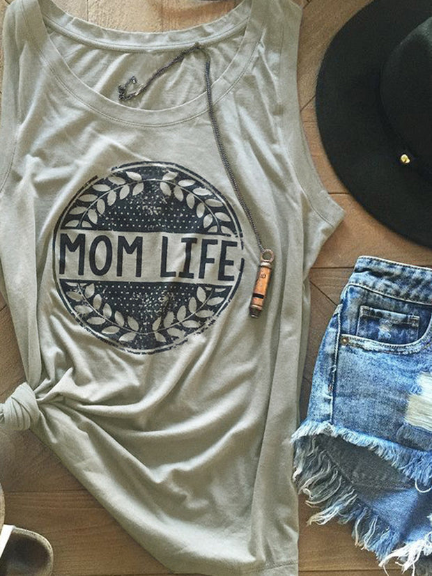 Mom Life Letters Printed Sleeveless T-shirt
