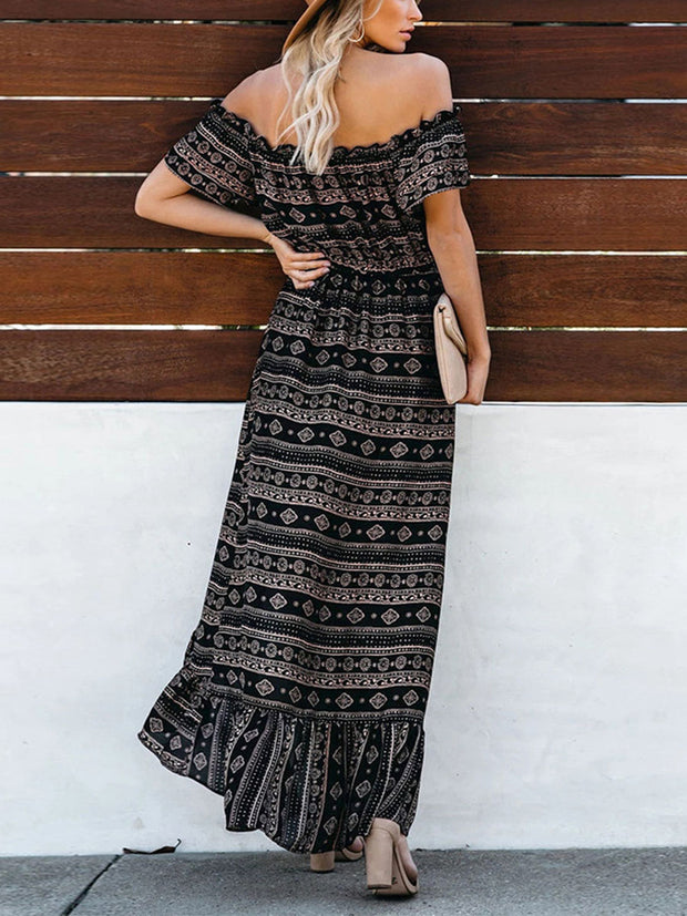 Ethic Off Shoulder High-low Floral Maxi Dress