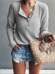 V-Neck Buttons Embellished Long Sleeves T-shirt