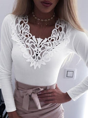 V-Neck Lace Splicing T-shirt
