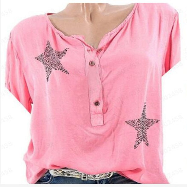 Five-pointed Star Rhinestone Crew Neck Shirt