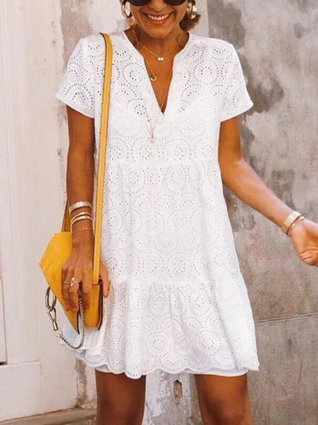 V-Neck lace Shift Dresses