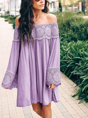 Off Shoulder Lace Splicing Dress