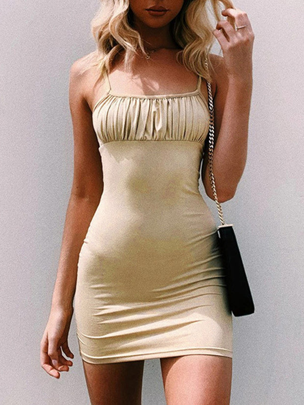 Solid Color Folds Straps Bodycon Dresses