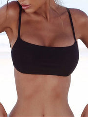 Spaghetti Strap Solid Color Wireless Bikini Top